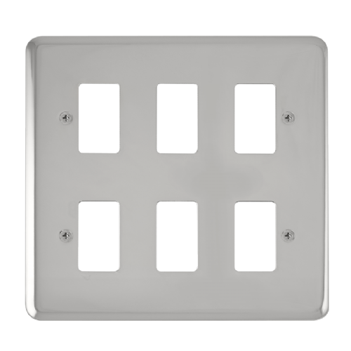 Scolmore DPCH20506 - 6 Gang GridPro® Frontplate - Polished Chrome - Scolmore - Sparks Warehouse