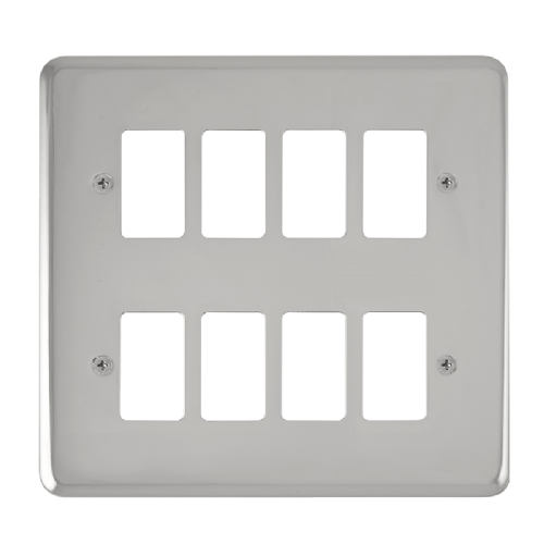 Scolmore DPCH20508 - 8 Gang GridPro® Frontplate - Polished Chrome - Scolmore - Sparks Warehouse