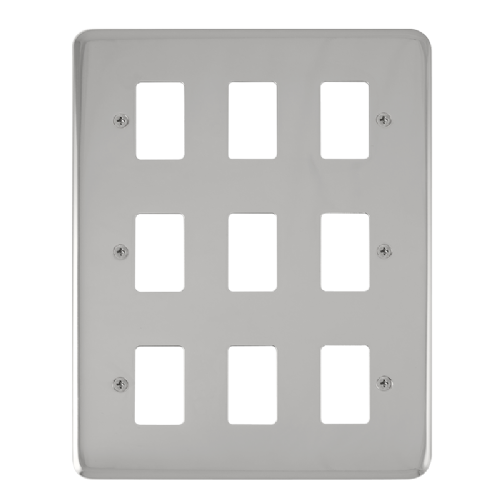 Scolmore DPCH20509 - 9 Gang GridPro® Frontplate - Polished Chrome - Scolmore - Sparks Warehouse