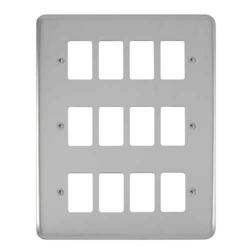 Scolmore DPCH20512 - 12 Gang GridPro® Frontplate - Polished Chrome - Scolmore - Sparks Warehouse
