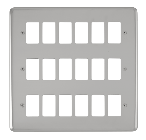 Scolmore DPCH20518 - 18 Gang GridPro® Frontplate - Polished Chrome - Scolmore - Sparks Warehouse