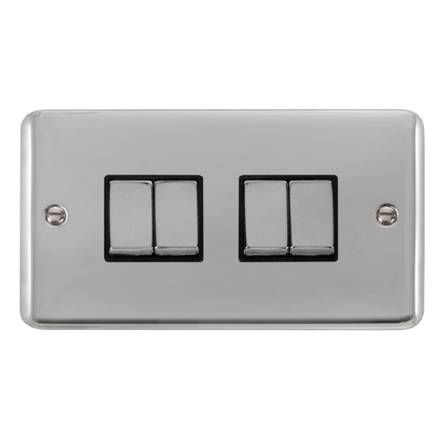 Scolmore DPCH414BK - 10AX Ingot 4 Gang 2 Way Plate Switch - Black - Scolmore - Sparks Warehouse