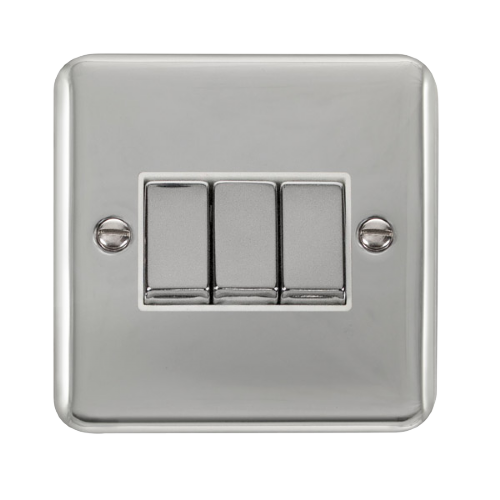Scolmore DPCHWH-SMART3 - 1G Plate 3 Apertures Supplied With 3 x 10AX 2 Way Ingot Retractive Switch Modules - Chrome - White - Scolmore - Sparks Warehouse