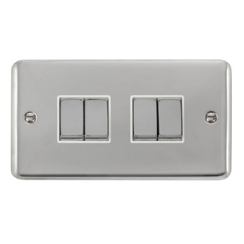 Scolmore DPCHWH-SMART4 - 2G Plate 2 x 2 Apertures Supplied With 4 x 10AX 2 Way Ingot Retractive Switch Modules - Chrome - White - Scolmore - Sparks Warehouse