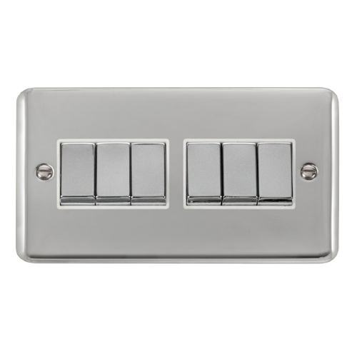 Scolmore DPCHWH-SMART6 - 2G Plate 2 x 3 Apertures Supplied With 6 x 10AX 2 Way Ingot Retractive Switch Modules - Chrome - White - Scolmore - Sparks Warehouse