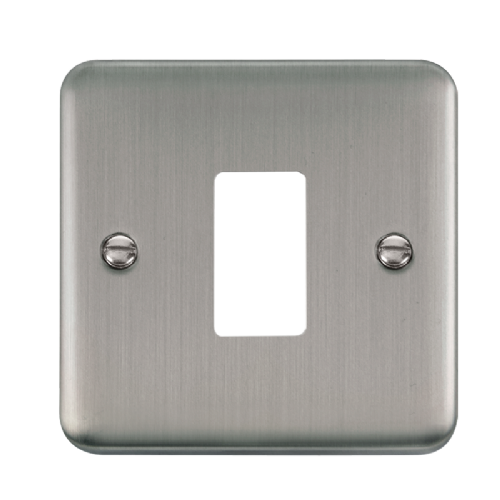Scolmore DPSS20401 - 1 Gang GridPro® Frontplate - Stainless Steel - Scolmore - Sparks Warehouse