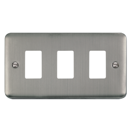 Scolmore DPSS20403 - 3 Gang GridPro® Frontplate - Stainless Steel - Scolmore - Sparks Warehouse