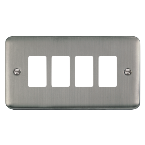 Scolmore DPSS20404 - 4 Gang GridPro® Frontplate - Stainless Steel - Scolmore - Sparks Warehouse