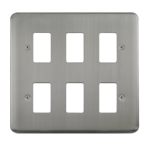 Scolmore DPSS20506 - 6 Gang GridPro® Frontplate - Stainless Steel - Scolmore - Sparks Warehouse