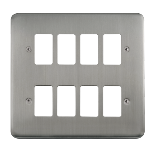 Scolmore DPSS20508 - 8 Gang GridPro® Frontplate - Stainless Steel - Scolmore - Sparks Warehouse