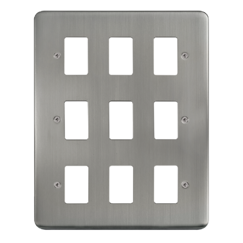 Scolmore DPSS20509 - 9 Gang GridPro® Frontplate - Stainless Steel - Scolmore - Sparks Warehouse