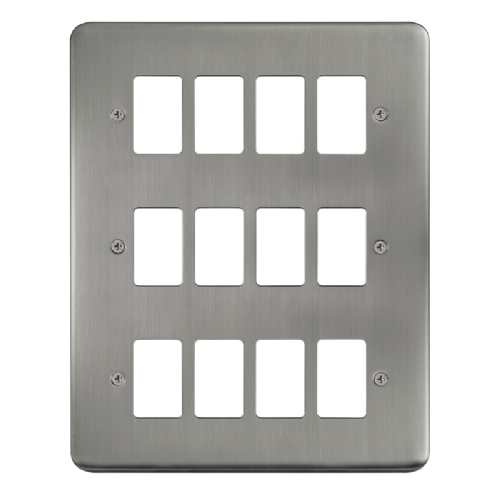 Scolmore DPSS20512 - 12 Gang GridPro® Frontplate - Stainless Steel - Scolmore - Sparks Warehouse