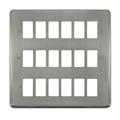 Scolmore DPSS20518 - 18 Gang GridPro® Frontplate - Stainless Steel - Scolmore - Sparks Warehouse