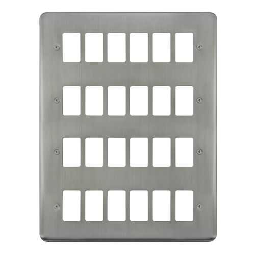 Scolmore DPSS20524 - 24 Gang GridPro® Frontplate - Stainless Steel - Scolmore - Sparks Warehouse