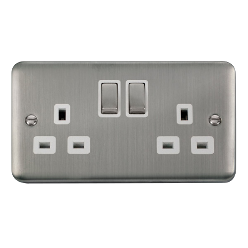 Scolmore DPSS536WH - 13A Ingot 2 Gang DP Switched Socket - White - Scolmore - Sparks Warehouse
