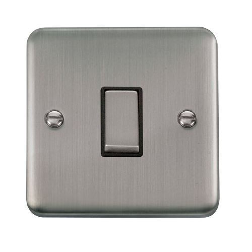 Scolmore DPSSBK-SMART1 - 1G Plate 1 Aperture Supplied With 1 x 10AX 2 Way Ingot Retractive Switch Module - Stainless Steel - Black - Scolmore - Sparks Warehouse
