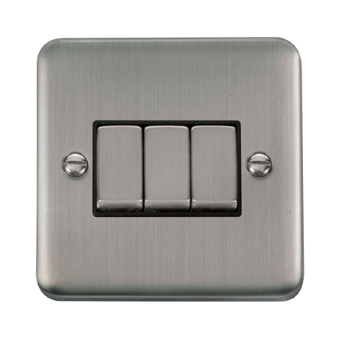 Scolmore DPSSBK-SMART3 - 1G Plate 3 Apertures Supplied With 3 x 10AX 2 Way Ingot Retractive Switch Modules - Stainless Steel - Black - Scolmore - Sparks Warehouse