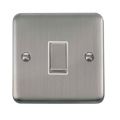 Scolmore DPSSWH-SMART1 - 1G Plate 1 Aperture Supplied With 1 x 10AX 2 Way Ingot Retractive Switch Module - Stainless Steel - White - Scolmore - Sparks Warehouse