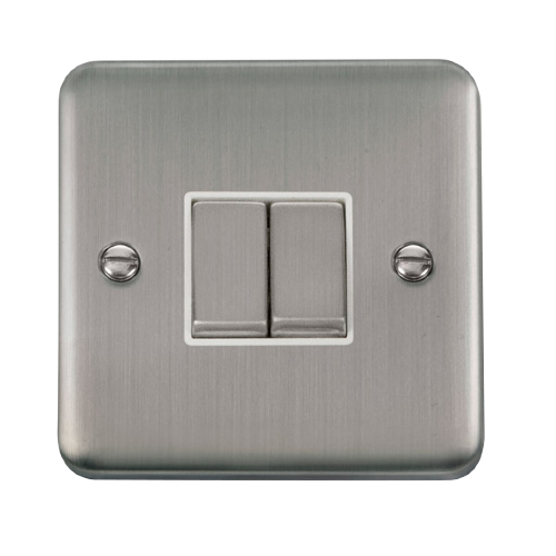 Scolmore DPSSWH-SMART2 - 1G Plate 2 Apertures Supplied With 2 x 10AX 2 Way Ingot Retractive Switch Modules - Stainless Steel - White - Scolmore - Sparks Warehouse