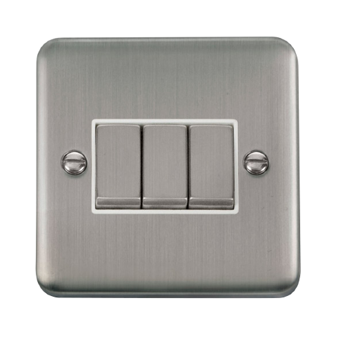 Scolmore DPSSWH-SMART3 - 1G Plate 3 Apertures Supplied With 3 x 10AX 2 Way Ingot Retractive Switch Modules - Stainless Steel - White - Scolmore - Sparks Warehouse