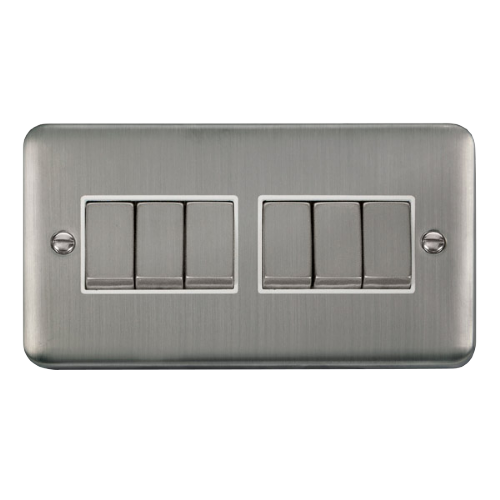 Scolmore DPSSWH-SMART6 - 2G Plate 2 x 3 Apertures Supplied With 6 x 10AX 2 Way Ingot Retractive Switch Modules - Stainless Steel - White