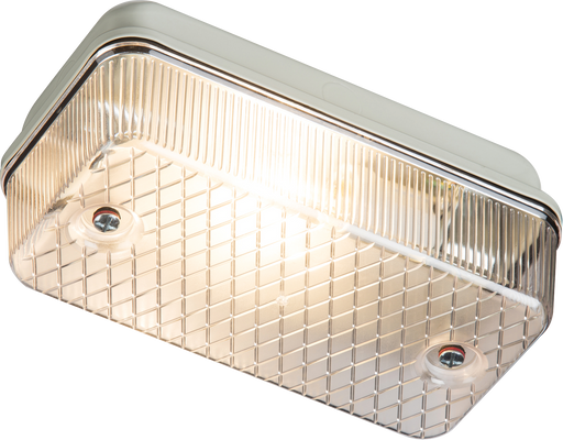 Knightsbridge E27PC IP65 100W (ES) Bulkhead E27 Clear PRISMATIC DIFFUSER & Aluminium BASE - Knightsbridge - sparks-warehouse