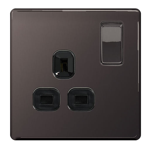 BG Nexus FBN21B Screwless Flat Plate Black Nickel 13A 1 Gang Double Pole Switched Socket - BG - sparks-warehouse