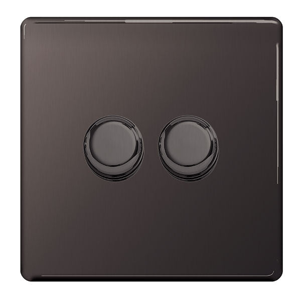 BG Nexus FBN82P Screwless Flat Plate Black Nickel 400W 1 Gang 2 Way Push Dimmer - BG - sparks-warehouse