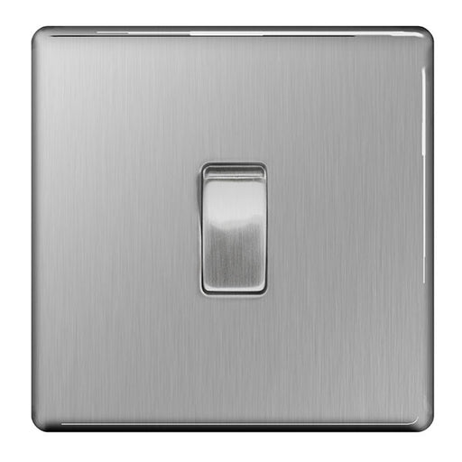 BG FBS13 Screwless Flat Plate Brushed Steel 10A Plate Intermediate Switch - BG - sparks-warehouse
