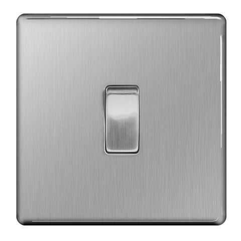 BG FBS13 Screwless Flat Plate Brushed Steel 10A Plate Intermediate Switch