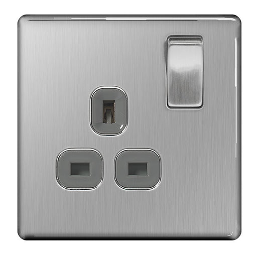 BG FBS21G Screwless Flat Plate Brushed Steel 13A 1G DP Switched Socket Grey Insert - BG - sparks-warehouse