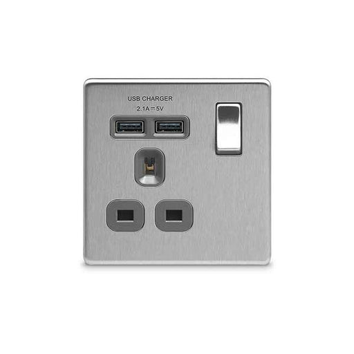 Bg FBS21U2G Screwless Flat Plate Brushed Steel 1G 13A Switched Socket with USB - Grey Insert - BG - Sparks Warehouse