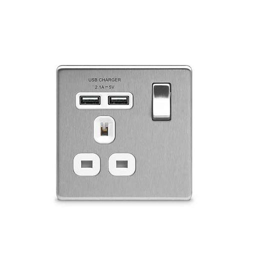 BG FBS21U2W Screwless Flat Plate Brushed Steel 13A 1G Switched Socket + USB - White Inserts - BG - Sparks Warehouse