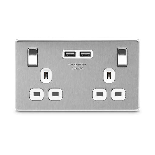 BG FBS22U3W Screwless Flat Plate Brushed Steel 13A 2G Switched Socket + USB - White Inserts - BG - sparks-warehouse