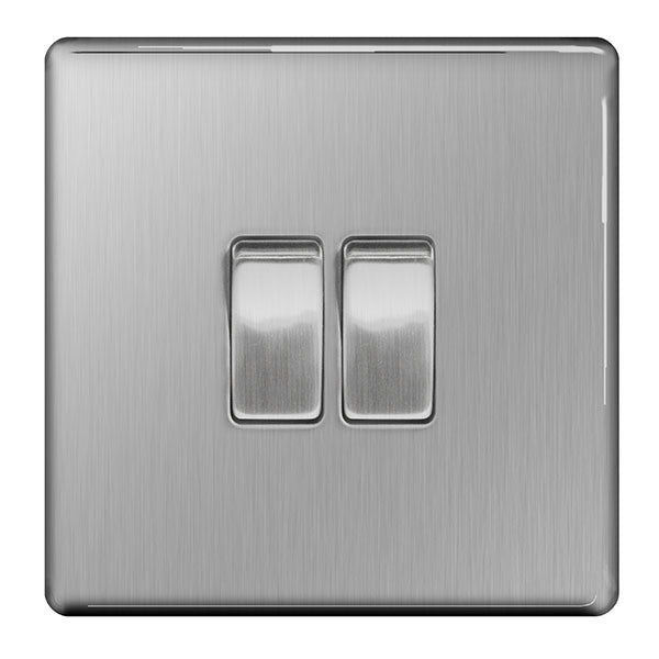BG FBS42 Screwless Flat Plate Brushed Steel 10A 2 Gang 2 Way Plate Switch - BG - sparks-warehouse