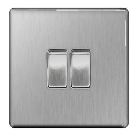 BG FBS42 SCREWLESS Flat Plate Brushed Steel 10A 2 Gang 2 Way Plate Switch