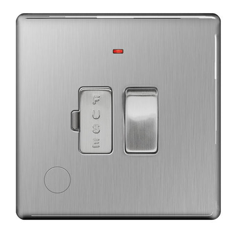 BG FBS53 Screwless Flat Plate Brushed Steel 13A Switched Fused Connection Unit With Neon & Flex Outlet