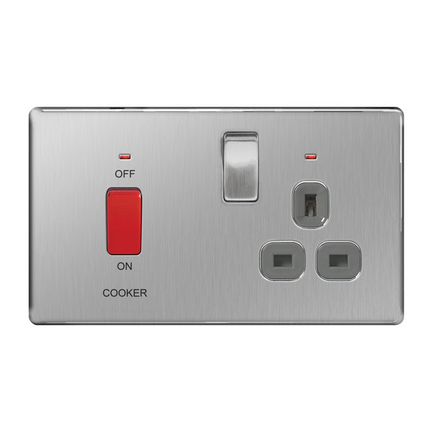 BG FBS70G Screwless Flat Plate Brushed Steel 45A Cooker Connection Unit Switched Socket Indicator - Grey Insert - BG - sparks-warehouse