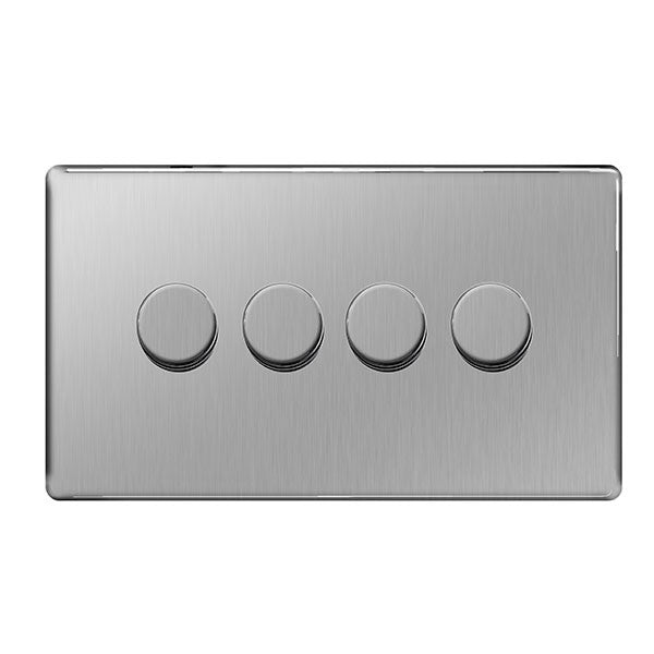 BG FBS84P Screwless Flat Plate Brushed Steel 400W 4 Gang 2 Way Push Dimmer - BG - sparks-warehouse