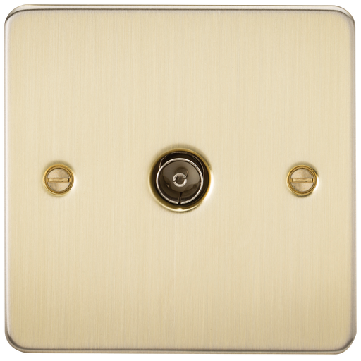 Knightsbridge FP0100BB Flat Plate 1G TV Outlet (NON-ISOLATED) - Brushed Brass - Knightsbridge - sparks-warehouse