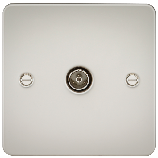 Knightsbridge FP0100PL Flat Plate 1G TV Outlet (NON-ISOLATED) - Pearl - Knightsbridge - sparks-warehouse