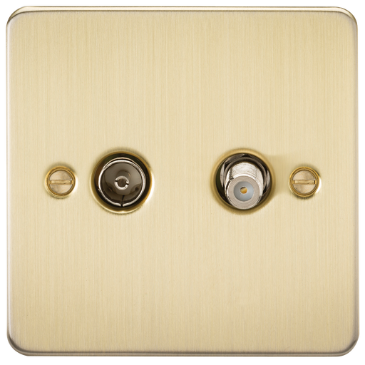 Knightsbridge FP0140BB Flat Plate TV & SAT TV Outlet (ISOLATED) - Brushed Brass