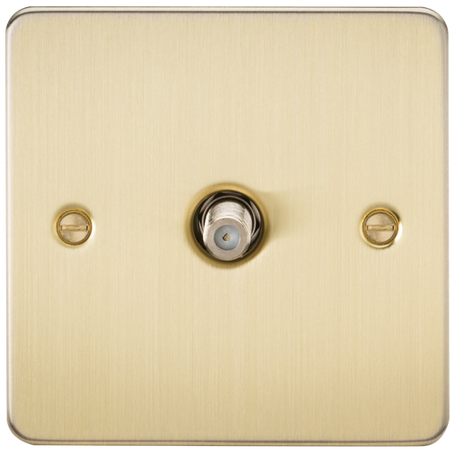 Knightsbridge FP0150BB Flat Plate 1G SAT TV Outlet (NON-ISOLATED) - Brushed Brass