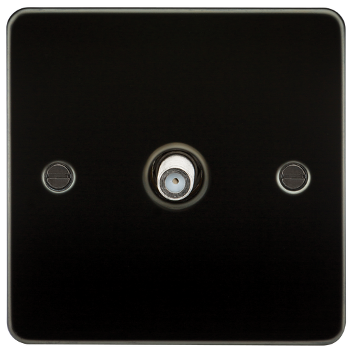 Knightsbridge FP0150GM Flat Plate 1G SAT TV Outlet (NON-ISOLATED) - Gunmetal - Knightsbridge - sparks-warehouse