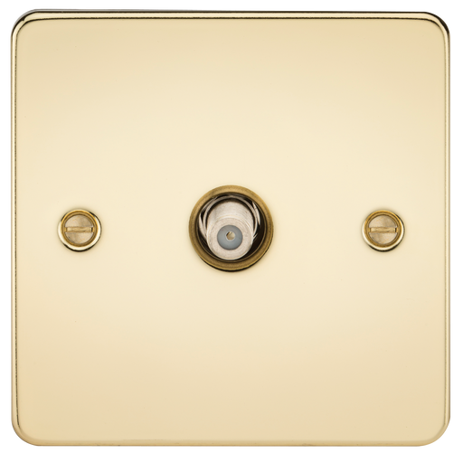 Knightsbridge FP0150PB Flat Plate 1G SAT TV Outlet (NON-ISOLATED) - Polished Brass