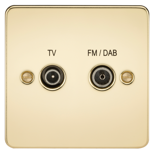 Knightsbridge FP0160PB Flat Plate SCREENED DIPLEX Outlet (TV & FM DAB) - Polished Brass