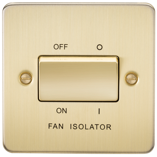 Knightsbridge FP1100BB Flat Plate 10A 3 POLE Fan Isolator Switch - Brushed Brass - Knightsbridge - sparks-warehouse