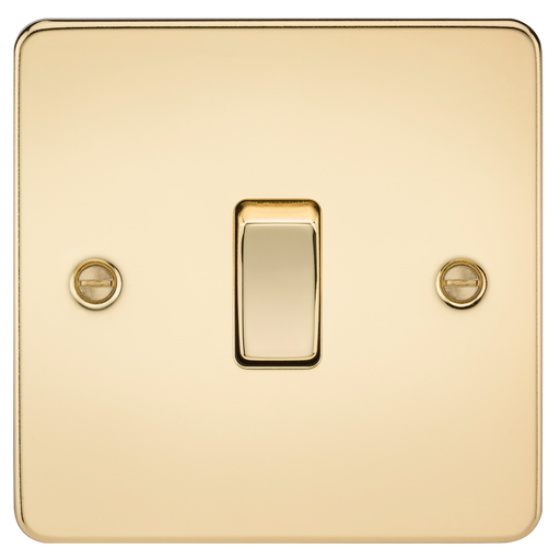 Knightsbridge FP1200PB Flat Plate 10A 1G INTERMEDIATE Switch - Polished Brass