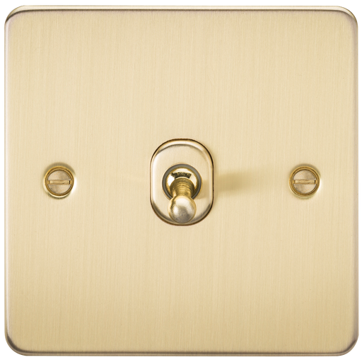 Knightsbridge FP12TOGBB Flat Plate 10A 1G INTERMEDIATE Toggle Switch - Brushed Brass - Knightsbridge - sparks-warehouse