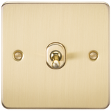 Knightsbridge FP12TOGBB Flat Plate 10A 1G INTERMEDIATE Toggle Switch - Brushed Brass
